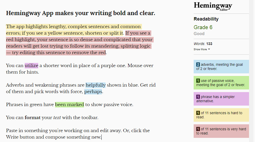 Social Media Marketing App - Hemmingway Editor